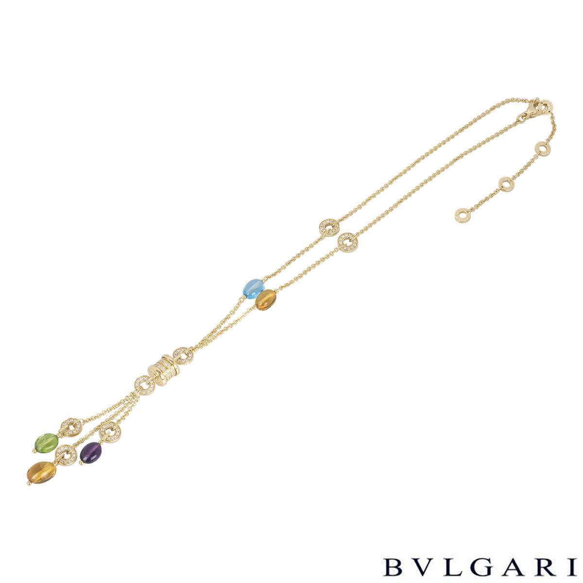 Bvlgari Yellow Gold Multi-Gem B.zero1 Mini Necklace CL854421